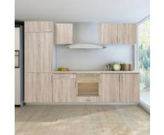 vidaXL Küchenzeile für Einbaukühlschrank 7-tlg. Eiche-Look
