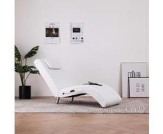 vidaXL Massage Chaiselongue mit Kissen Weiß Kunstleder