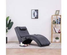 vidaXL Massage Chaiselongue mit Kissen Grau Wildleder-Optik