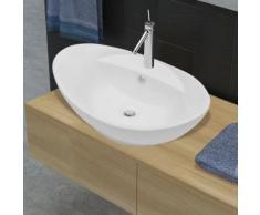 vidaXL Luxuriöses Keramik Waschbecken Oval + Überlauf 59 x 40cm