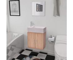 vidaXL Dreiteiliges Badmöbel-Set mit Waschbecken Beige