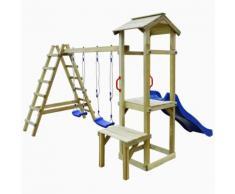 vidaXL Spielturm mit Rutsche Leitern Schaukeln 286x228x218 cm Kiefer