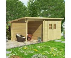 vidaXL Blockhaus Gartenschuppen Massivholz 28 mm 5,3 x 3 m