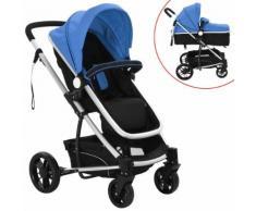 vidaXL 2-in-1 Buggy/Kinderwagen Aluminium Blau und Schwarz