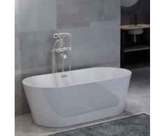 vidaXL Freistehende Badewanne und Wasserhahn 220 L 99,5 cm Silbern