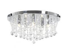 vidaXL Deckenleuchte mit Kristallperlen Silbern Rund 4x G9 Glühbirnen