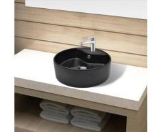 vidaXL Keramik Waschbecken Hahnloch/Überlaufloch schwarz rund