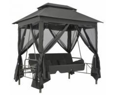 vidaXL Gartenschaukel mit Bettfunktion und Dach 220×160×240 cm Stahl