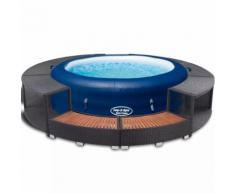 Bestway Lay-z-Spa Aufblasbarer Whirlpool 196x61 cm PE Rattan Umrandung