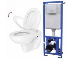 vidaXL Wand-WC mit Spülkasten und Absenkautomatik-Sitz Keramik Weiß