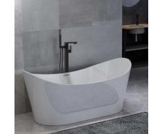 vidaXL Freistehende Badewanne und Wasserhahn 204 L 90 cm Schwarz