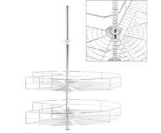 vidaXL 2-stufiger Küchen-Drahtkorb Silbern 270 Grad 71x71x80 cm