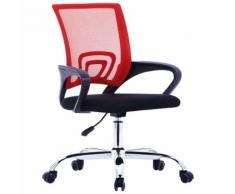 vidaXL Bürostuhl mit Netzrückenlehne Rot Stoff