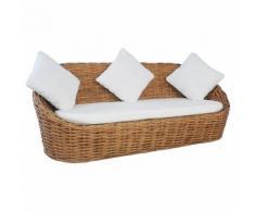 vidaXL 3-Sitzer-Sofa mit Polstern Natürliches Rattan