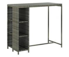 vidaXL Bartisch mit Regal Grau 120x60x110 cm Poly Rattan