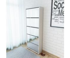 vidaXL Schuhschrank mit 5 Fächern Spiegel Weiß 63×17×169,5 cm