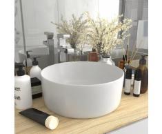 vidaXL Luxuriöses Waschbecken Rund Matt Weiß 40x15 cm Keramik