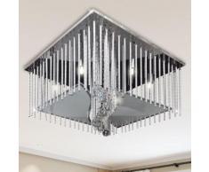 vidaXL Quadratische Kristall Deckenleuchte Deckenlampe mit Aluminium-Stäben