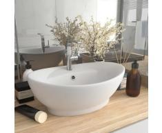 vidaXL Luxus-Waschbecken Überlauf Oval Matt-Weiß 58,5x39 cm Keramik