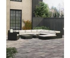 vidaXL 13-tlg. Garten-Lounge-Set mit Auflagen Poly Rattan Schwarz