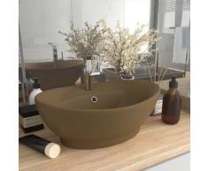 vidaXL Luxus-Waschbecken Überlauf Oval Matt Creme 58,5x39cm Keramik