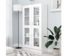 vidaXL Vitrinenschrank Hochglanz-Weiß 82,5x30,5x150 cm Spanplatte
