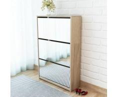 vidaXL Schuhschrank mit 3 Fächern Spiegel Eiche-Optik 63x17x102,5 cm