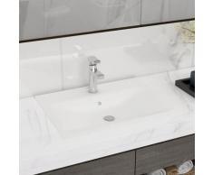 vidaXL Luxus Waschbecken Keramik Rechteckig Weiß mit Hahnloch 60x46 cm
