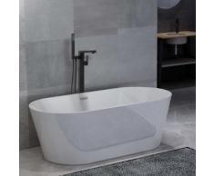 vidaXL Freistehende Badewanne und Wasserhahn 220 L 90 cm Schwarz