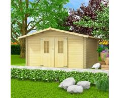 vidaXL 34 mm 4 x 4 m Gartenhaus Blockhaus Massivholz