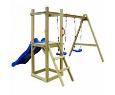 vidaXL Spielturm mit Rutsche Leiter Schaukeln 242x237x175 cm Kiefer