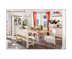 Mexico Esstisch Tisch, Pinie massiv weiss / honig, Landhausstil shabby Möbel