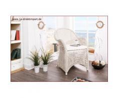 Mediterraner Rattansessel mit Kissen, weiß