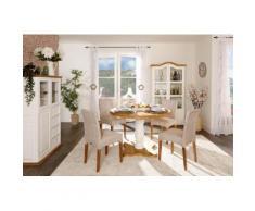 runder Landhaustisch MEXICO, 120cm Durchmesser, Pinie Massivholz, weiß lackiert, Küchentisch Esstisch rund