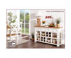 Landhausstil Wandtisch Anrichte Sideboard MEXICO Weiß / Honig, Pinie massiv, weiss lackiert