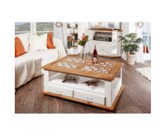 Couchtisch Wohnzimmertisch mit Marmor Mosaik, weiß Landhausstil