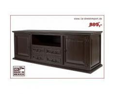 Lowboard Kolonialstil - TV Möbel kolonialfarben - Massivholz - schwarz-braun lackiert - Mexico