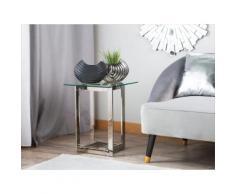 Beistelltisch Glas Silber quadratisch 40 x 40 cm CRYSTAL