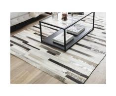 Teppich Kuhfell beige / braun 140 x 200 cm Streifenmuster TIPILI