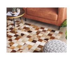 Teppich Kuhfell braun / weiß 160 x 230 cm Patchwork CAMILI