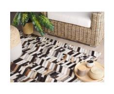 Teppich Kuhfell braun / weiß 160 x 230 cm Patchwork AKYELE