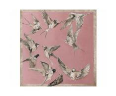 La Casa »Schwalben Hintergrund rosa« Ölbild handbemalt 100x100 cm