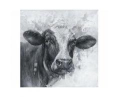 La Casa »Kuhkopf schwarz weiß« Ölbild handbemalt 100x100 cm