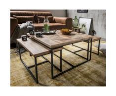 die Faktorei Couch- / Beistelltische Mosaik 3-er Set Teakholz