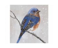 La Casa »Vogel auf Ast Blick nach rechts« Ölbild handbemalt 40x40 cm