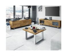 The Beds Steel Massivholz Couchtisch 2209 / 80x80 cm / Buche Nussbaum