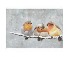 La Casa »3 Vögel auf Ast im Winter« Ölbild handbemalt 100x70 cm