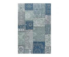 benuta TRENDS Flachgewebeteppich Frencie Blau/Grau 80x165 cm - Vintage Teppich im Used-Look