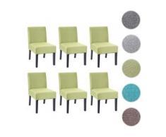 6x Esszimmerstuhl HWC-F61, Stuhl Lounge-Stuhl, Stoff/Textil ~ grün