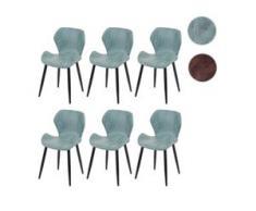 6x Esszimmerstuhl HWC-F24, Stuhl Küchenstuhl, geschwungene Sitzform Kunstleder ~ grau-grün